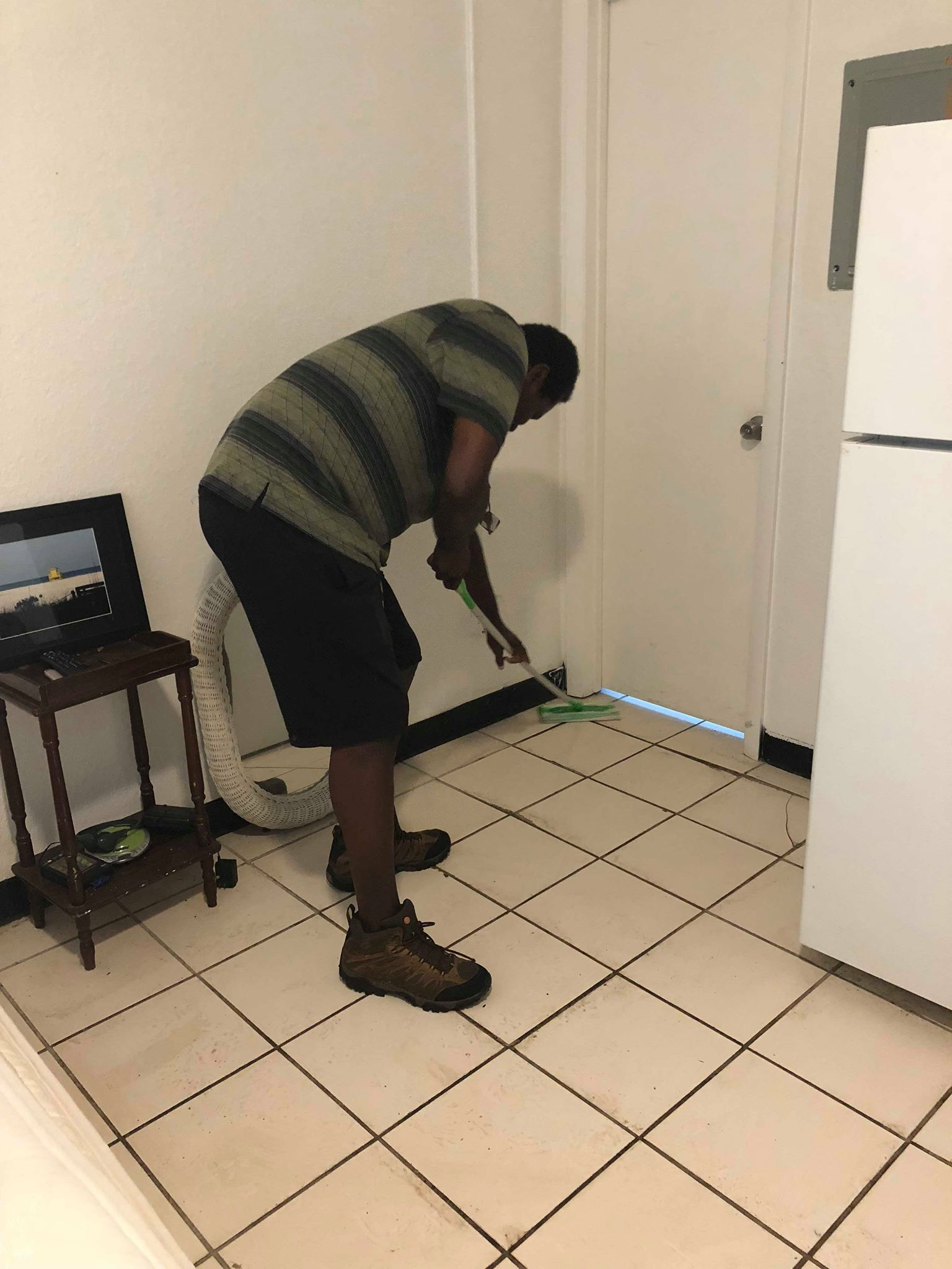 Male cleaning